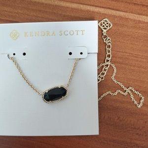 Kendra Scott Black Glass Pendant Gold Necklace